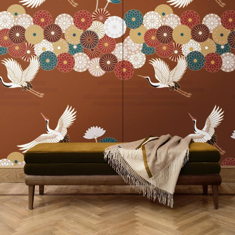 This superb wall decoration will add a dramatic accent to any wall in the house. Inspired by Japanese art, this design features stylized flowers and flying storks over a stunning crimson background in cotton and silk. This unique piece is one of