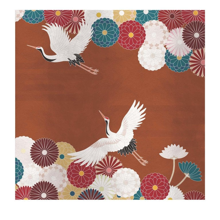Modern Flower and Storks Bronze Panel For Sale