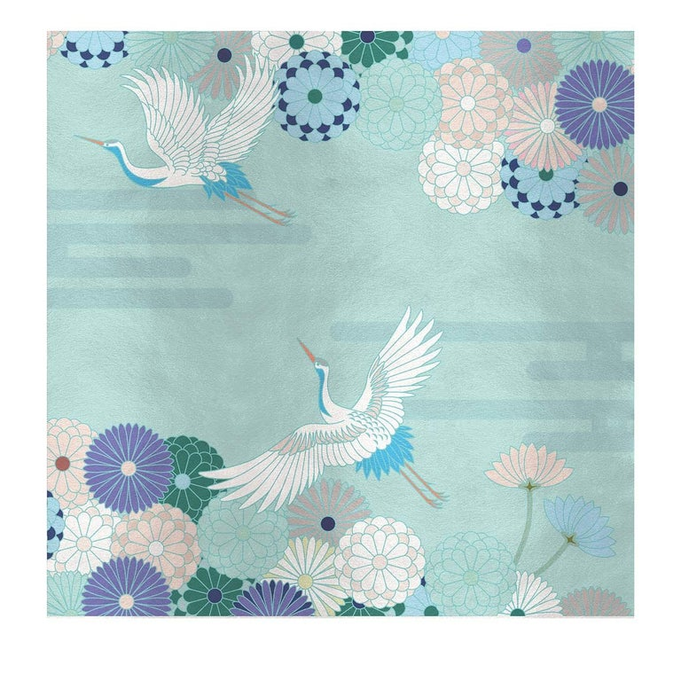 Modern Flower and Storks Light Blue Panel For Sale