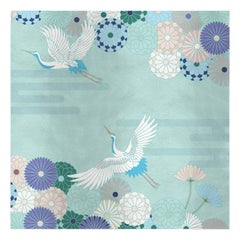 Flower and Storks Light Blue Panel