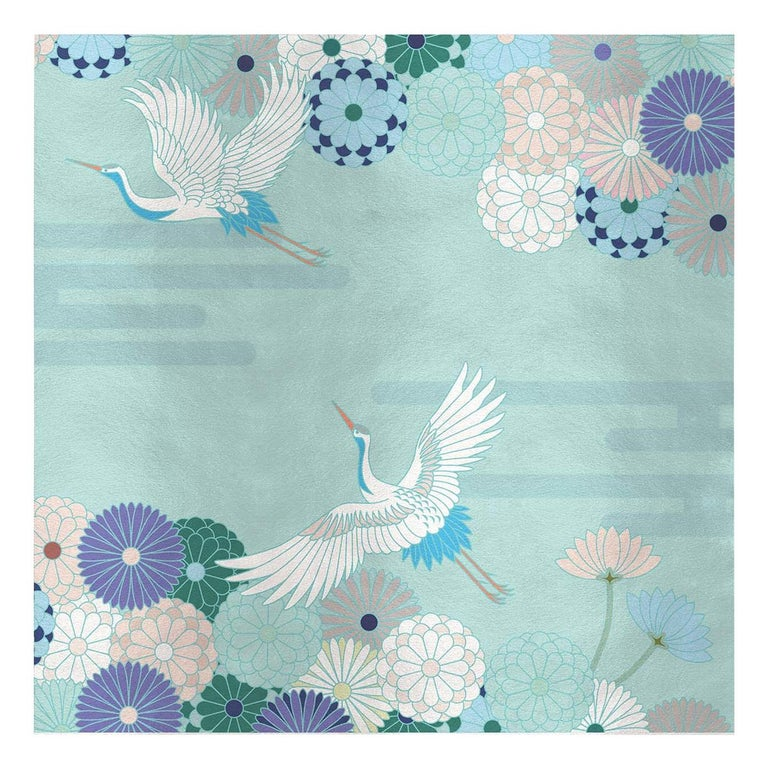 Flower and Storks Light Blue Panel For Sale