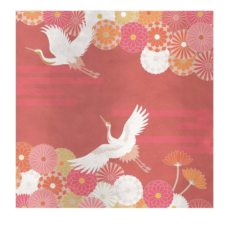 Modern Flower and Storks Orange Panel For Sale