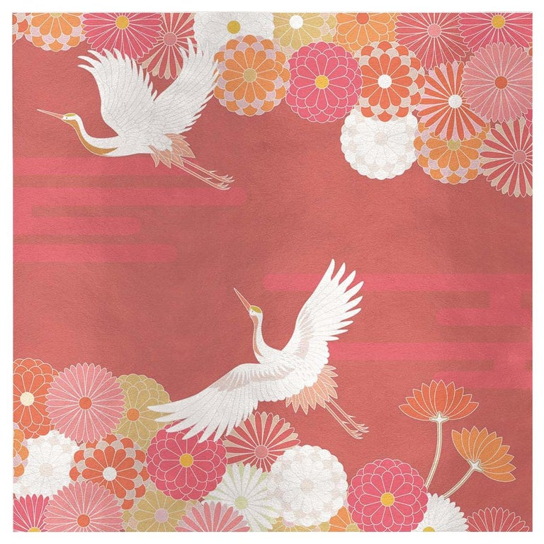 Flower and Storks Orange Panel For Sale