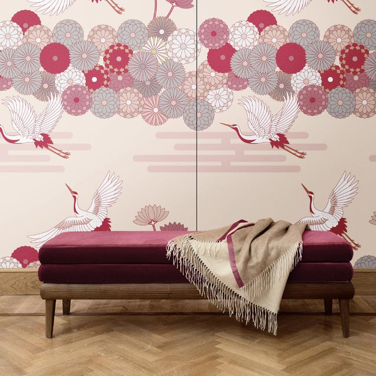 A delicate wall decoration that will imbue of poetic elegance any interior, this is one of five versions of the Flowers and Storks collection. It was crafted of silk and cotton and depicts a scene inspired by Japanese paintings, using different