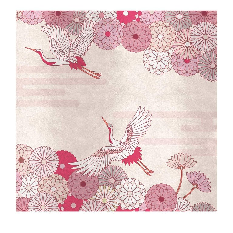 Modern Flower and Storks Pink Panel For Sale