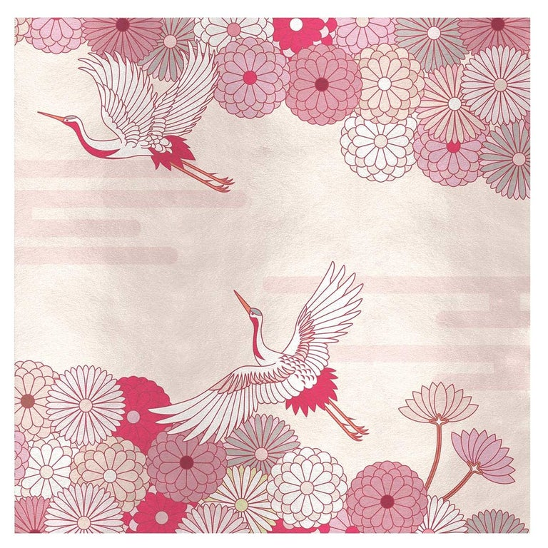 Flower and Storks Pink Panel For Sale