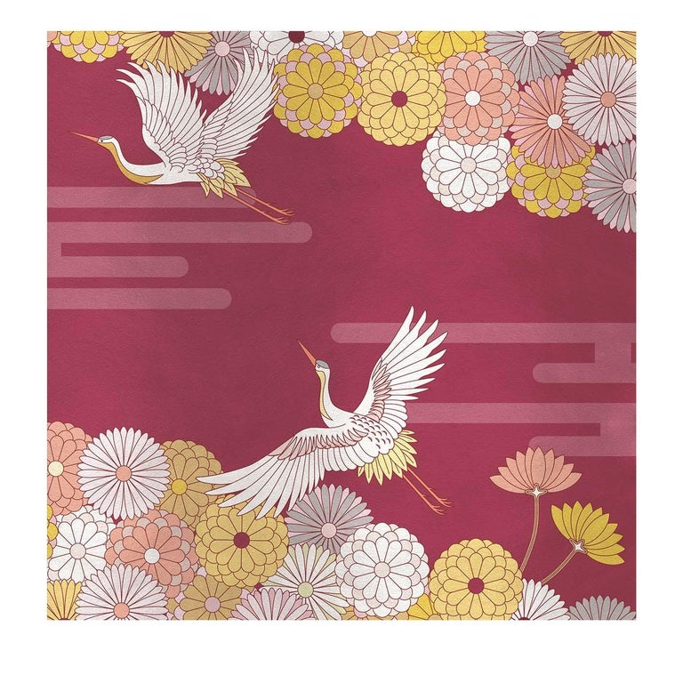 Modern Flower and Storks Red Panel For Sale