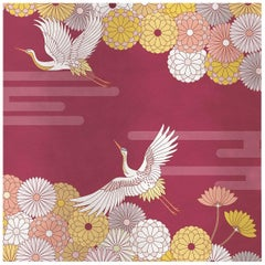 Flower and Storks Red Panel