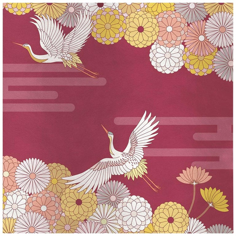 Flower and Storks Red Panel For Sale