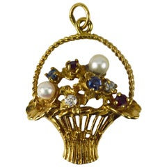 Flower Basket 14 Karat Yellow Gold Gem Set Charm Pendant