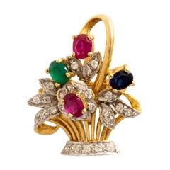 Flower Basket Ruby Sapphire Diamond Yellow Gold Pendant