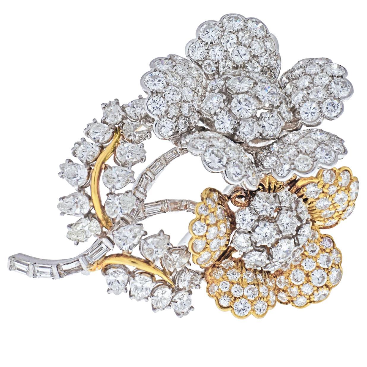 Flower Blossom Diamond, Sapphire, Rubies, Emeralds Brooch