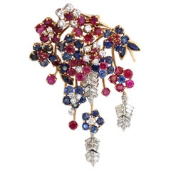 Flower Bouquet Brooch Diamonds Sapphires Rubies Yellow Gold, 1950
