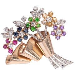 Flower Bouquet Brooch with Precious Gems and Diamonds