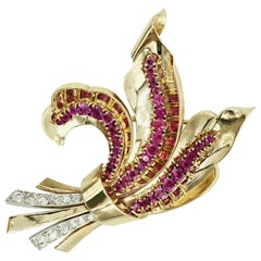 Flower Brooch with Fine Rubies and Diamonds in 14 Karat Gold