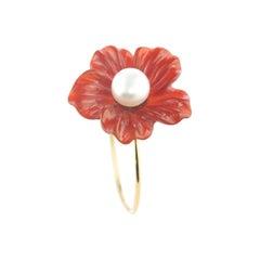 Flower Brown Agate Freshwater Pearl 18 Karat Gold Spring Handmade Italian Ring