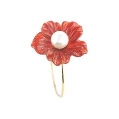 Flower Brown Agate Freshwater Pearl 9 Karat Gold Spring Handmade Italian Ring