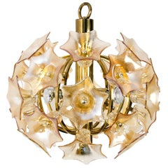 Flower Bulb Murano Glass Brass Sputnik by Simon & Schelle, 1970
