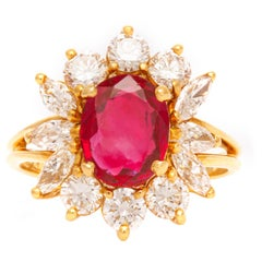 Flower Burma Ruby Diamond Ring Certfied