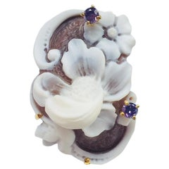 Flower Cameo Rose Gold Sterling Silver Statement Ring