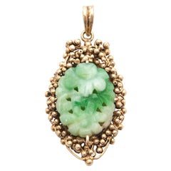 Flower Carved Green White Jadeite Jade Silver Bunch of Grapes Necklace Pendant