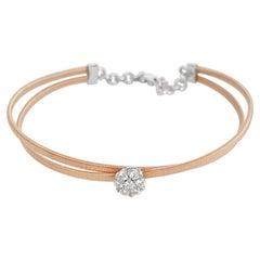 Flower Center of Round Brilliant Diamond and Rose Gold Cuff Bracelet, 14k Gold