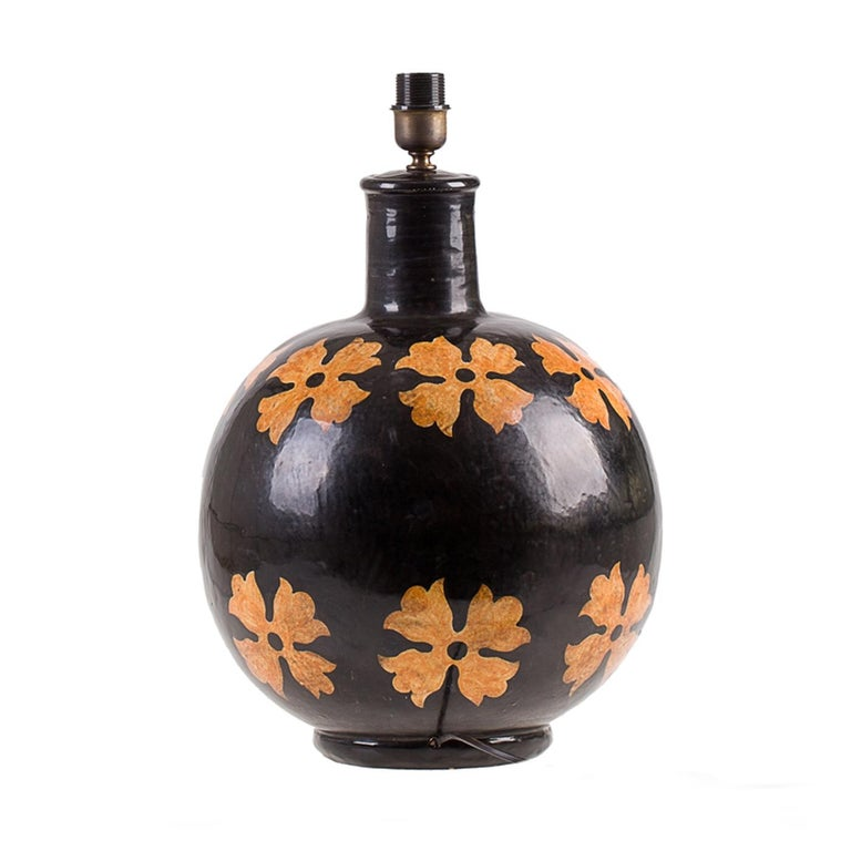Italian Flower Ceramic Lamp by Ceccarelli For Sale