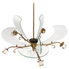 Flower Chandelier in Brass and Glass by Fontana Arte, Italy, 1950s