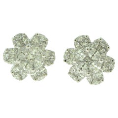 Flower Cluster Diamond Optical Illusion Earring Studs in 18 Karat White Gold
