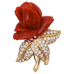 Flower Coral, Diamonds, 18 Karat Yellow Gold Brooch