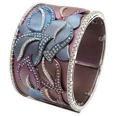 Flower Cuff Bracelet Diamond Titanium 18 Karat Gold Andreoli