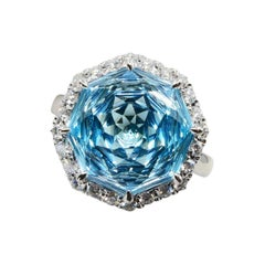 Flower Cut Powder Blue Topaz 7.86 Cts and Diamond Cocktail Ring, Statement Ring