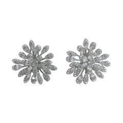 Flower Cz Earrings Silver
