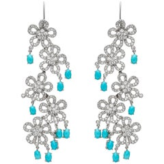 Flower Dangle Earrings with Diamonds and Turquoise