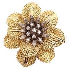 Flower Diamond Brooch with Intricate Petal Detailing