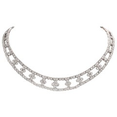 Flower Diamond Collar Choker 18 Karat Gold Necklace