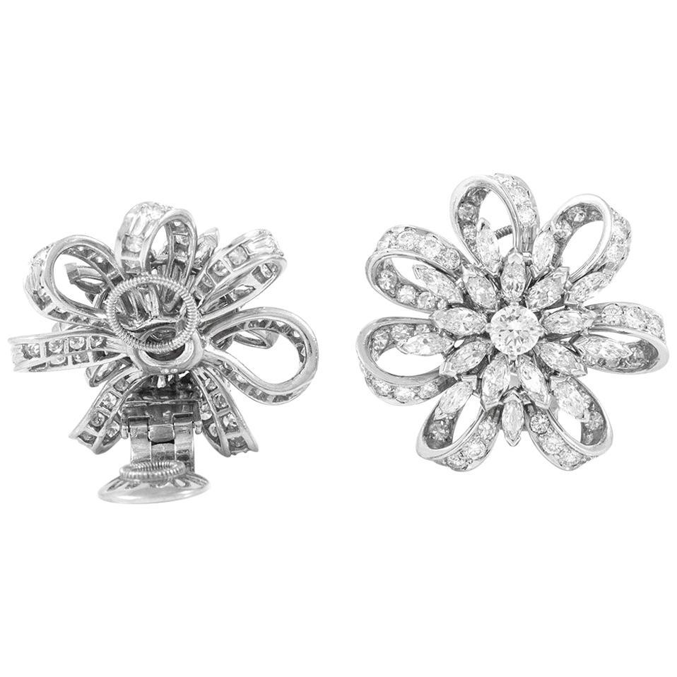 Flower Diamond Earclip Earrings
