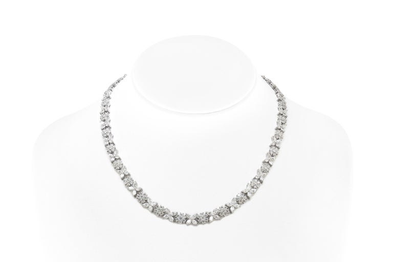 Marquise Cut Flower Diamond Necklace For Sale