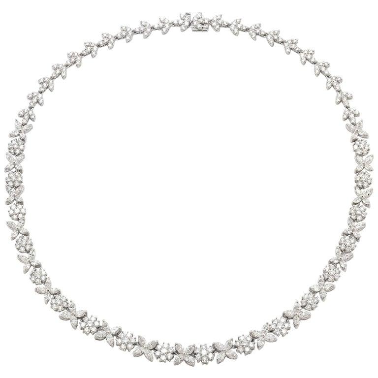 Flower Diamond Necklace For Sale