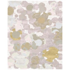 Flower Dots Hand Knotted Wool and Bamboo Silk Bespoke Carpet by Malene Barnett