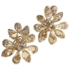 Flower Ear-Tops with 5.06 Carat Rose Cut Diamonds and 0.35 Carat Round Diamonds