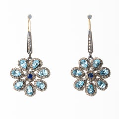 Flower Earrings in Blue Topaz, Sapphire and Diamonds