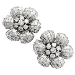 Flower Earrings, White Gold All Set with Round and Baguette Diamonds