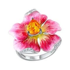 Flower Enamel Ring Sterling Silver