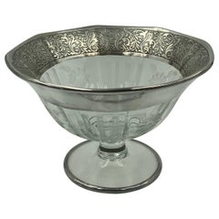 Flower Etched Footed Candy Bowl Compote with Sterling Silver Leaf Rim