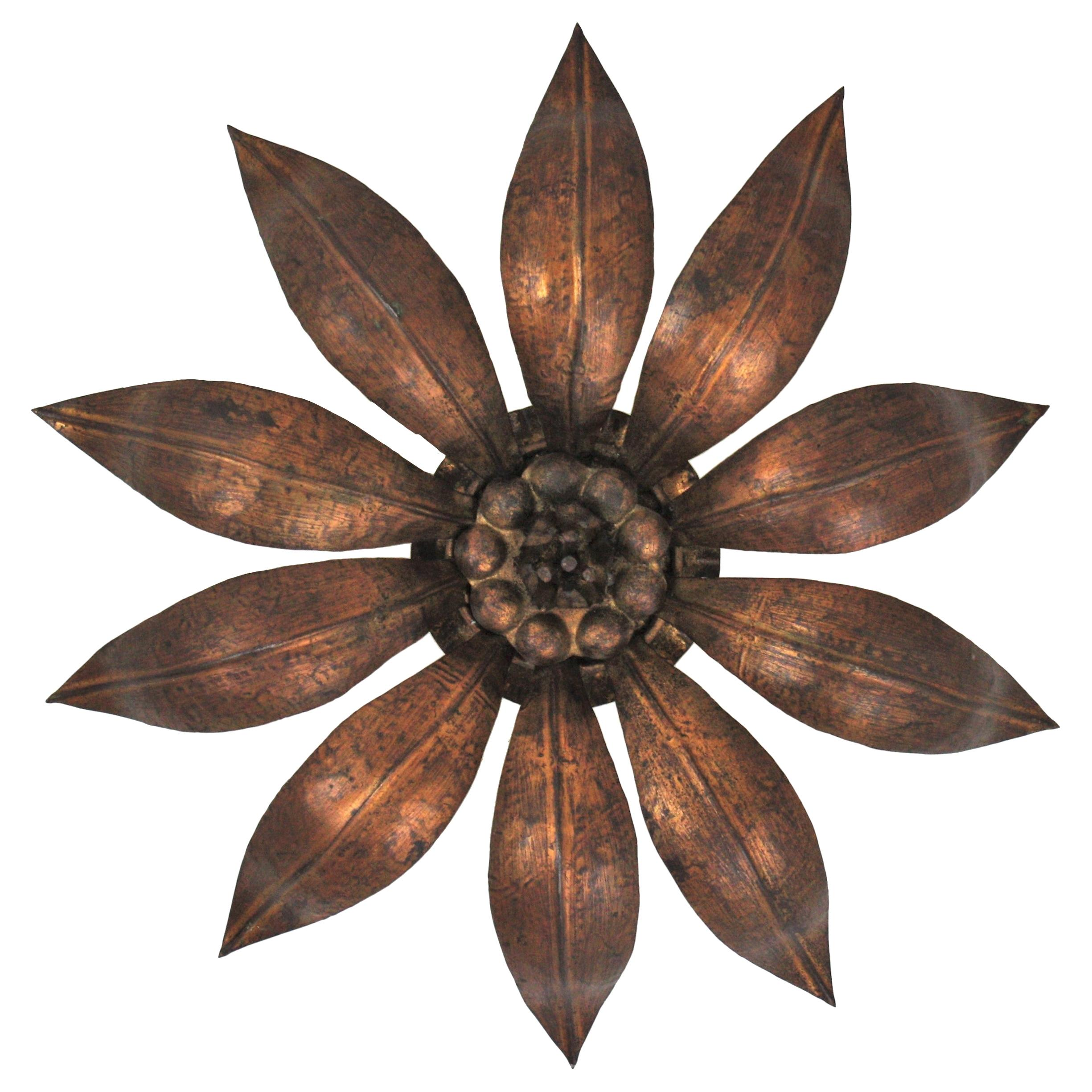 French Sunburst Flower Ceiling Light Fixture in Bronze Gilt Iron, 1940s