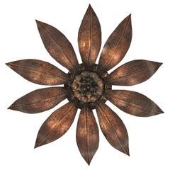 French Sunburst Flower Ceiling Light Fixture in Bronze Gilt Iron, 1940s