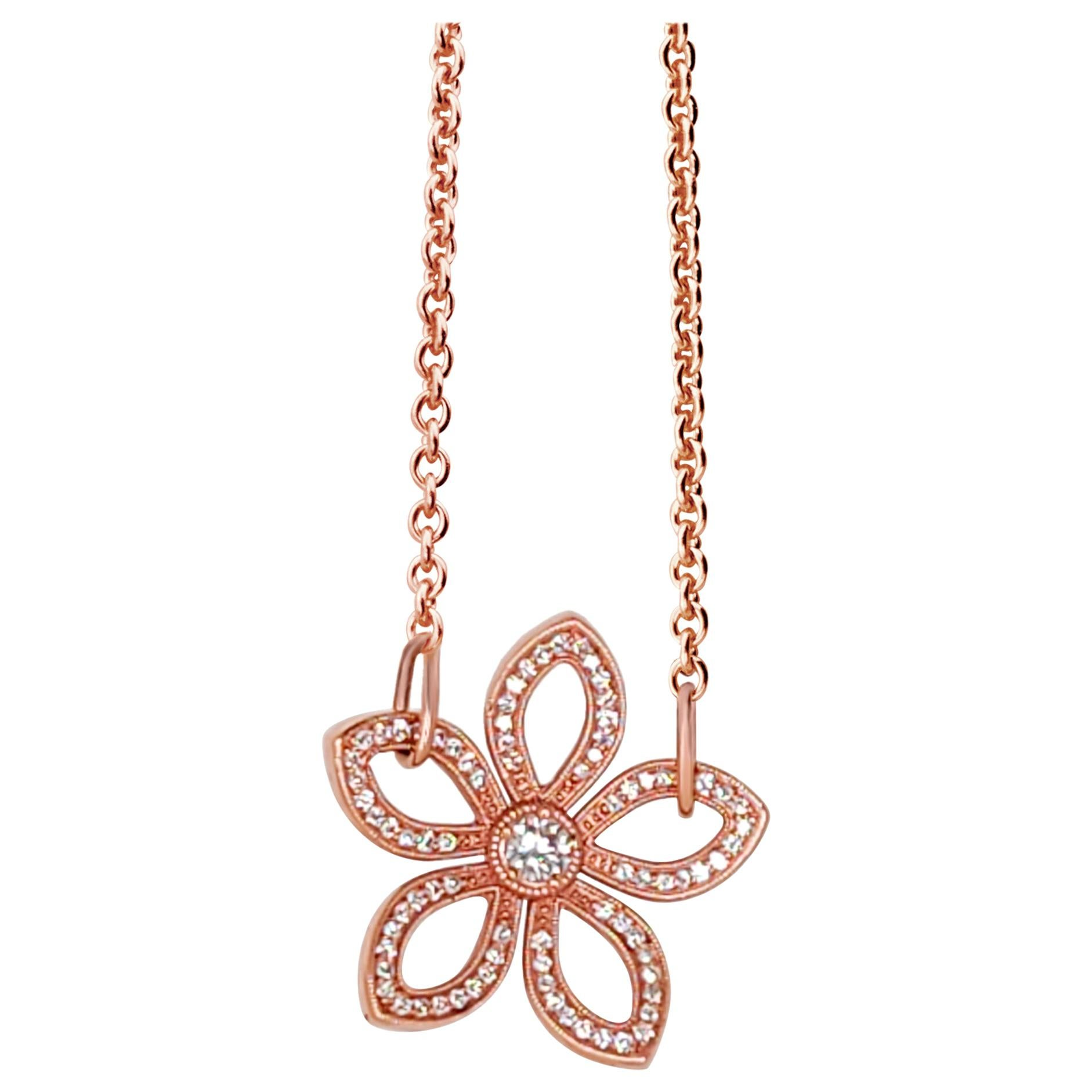 Flower Gold and Diamond Pendant Necklace