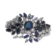 Flower Gold Brooch with Sapphires and Diamonds