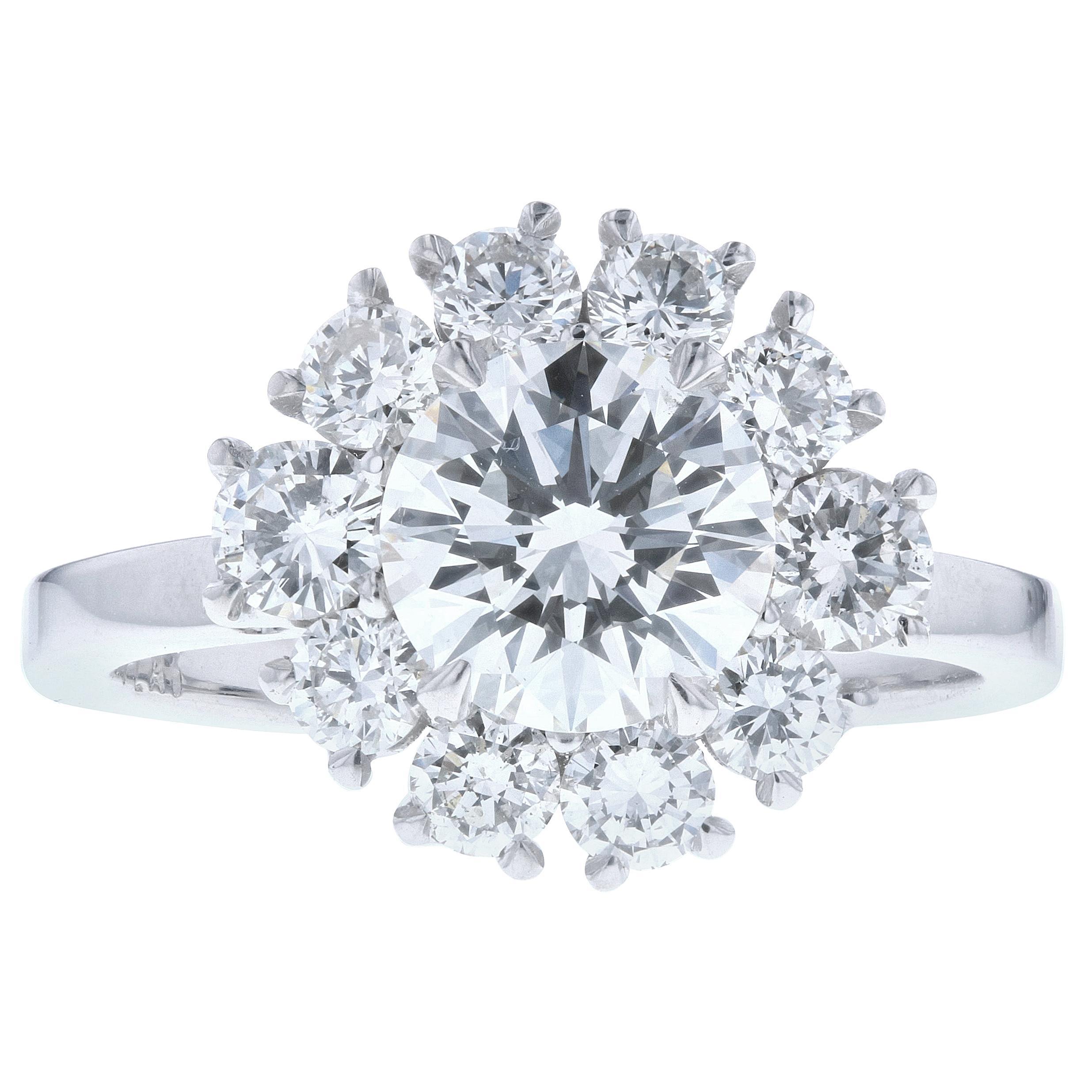 Flower Halo Diamond Engagement Ring 'Round Center'